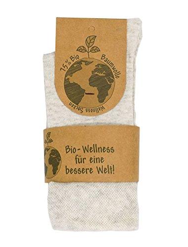 Wellness Socken mit 75% reiner Bio-Baumwolle ohne Gummibund - GOTS-Zertifiziert - 3er Pack (35-38, beige meliert)