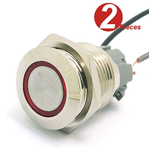 DollaTek 2Pcs 16mm 10A interrupteur momentané interrupteur à bouton-poussoir 12V dc oeil angulaire LED interrupteur rond en acier inoxydable étanche à l'eau - Rouge