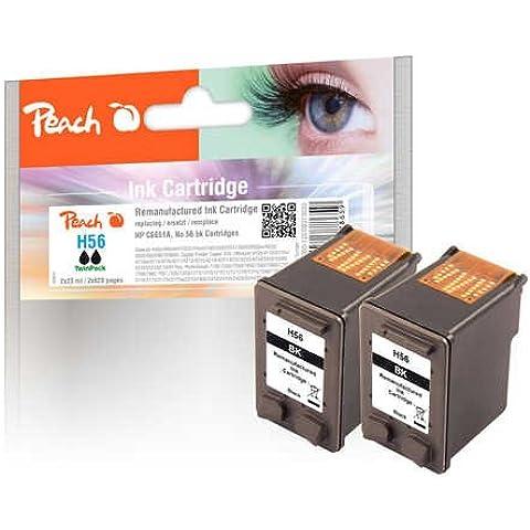 Peach Twin Pack - Paquete de 2 cartuchos de tinta para HP C6656AE, negro