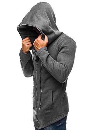 ozonee Felpa uomo felpa con cappuccio sweat maglione sportivi Pullover stile j. 2040 GRIGIO SCURO _js-y36-10