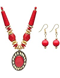 JDX Fashion Jewelry Gold Plated In Red Colour Necklace Set Traditional Jewellery Set With Earrings For Women &...