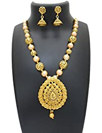 My Design Antique Gold Plated Bridal Necklace Set For Women And Girls