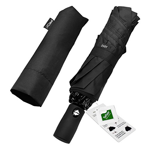 Automatic Compact Travel Umbrella with Reverse and Safe Lock Design, HQdeal Teflon 210T Auto Open Close Folding Strong Windproof Umbrella