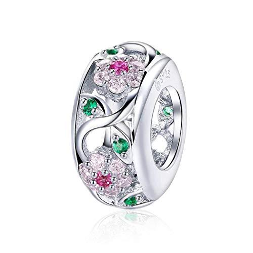 FeatherWish Charm-Anhänger Gänseblümchen mit Baum und Blättern, 925 Sterlingsilber, für Pandora-Armband