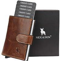 HIDE & SKIN Unisex Leather RFID Blocking Card Holder (TANNISH Brown)