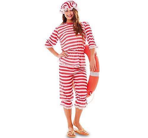 Damen Kostüm Lustige - EUROCARNAVALES Erwachsen Kostüm Retro Badeanzug rot-weiß gestreift, wahlweise mit Haube, Beachparty Karneval (Damen-42)