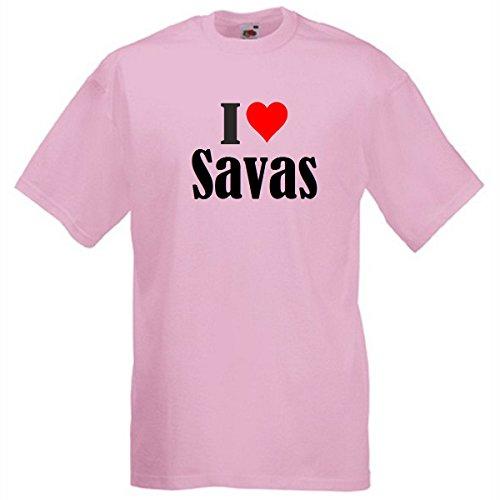 """T-Shirt """"I Love Savas"""" für Damen Herren und Kinder in Pink Pink"""
