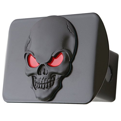 100% Metal Skull 3D Emblem Trailer Hitch Cover Fits 2 Receivers (Black Red on Black) by LFPartS - Hitch Receiver Cover