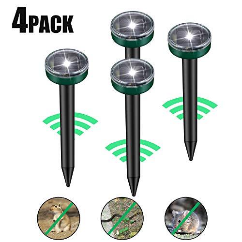Viccioo 4 Stück Solar Maulwurfabwehr, Ultrasonic LED Maulwurfschreck, Wühlmausvertreiber, Wühlmausschreck, Mole Repellent, Maulwurfbekämpfung mit IP56 für Den Garten (4pcs)