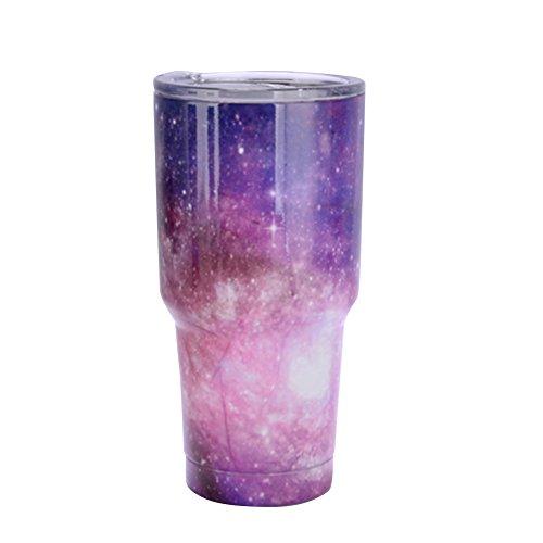 Zantec Thermosflasche, Edelstahl 30 Unzen Isolierte Tasse Sternenhimmel Farbe Reise Kaffeetasse mit Deckel für Car Home (Munchkin-cup-stroh)