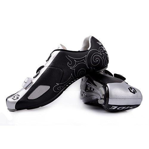 Unisexe respirant chaussures de vélo professionnels pour route et VTT SD-002 Argent / Noir pour le Route