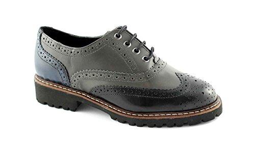 PREGUNTA IV5386 nero grigio scarpe donna francesina puntale inglese 36