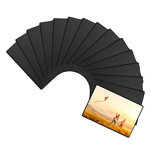 Magnetische Fototaschen, Magiclfy 15 Stück Magnet Bilderrahmen Fotorahmen für Fotos Postkarten von 12,7 x 17,8 cm für Kühlschrank, Schwarz -