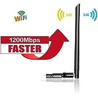 Clé Wifi 1200Mbps avec 5dBi Antenne Adaptateur USB Wifi Dual Bande 5G 866Mbps 2.4G 300Mbps Dongle Wifi Wireless Compatible avec Win 10/8.1/8/7/XP/Vista Mac OS (USB 3.0 )