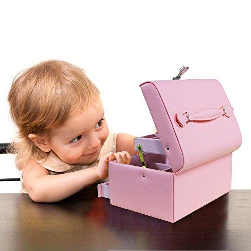 TSSS 3-Code Zahlenschloss Schmuckkasten mit Spiegel Damen Mädchen Abschließbar Schmuckkoffer Pink Kunstleder Schmuckkästchen Schmucklade Boxen - 3