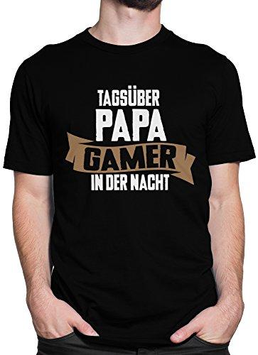 Tagsüber Papa, Gamer in der Nacht Gaming Spruch / Premium Fun Motiv T-Shirt XS-5XL mit Aufdruck / Ideales Geschenk Braun