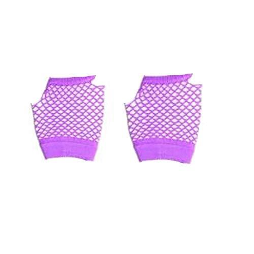 80er Shorts Fischnetz Handschuhe - Schwarz, Weiß, Rot, Lila (Einfarbig Violett) - Lila, One Size ()
