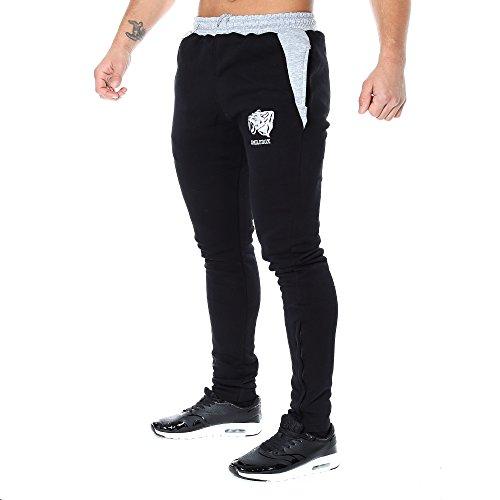 SMILODOX Slim Fit Jogginghose Herren | Trainingshose für Sport Fitness Gym Training & Freizeit | Sporthose - Jogger Pants - Sweatpants Hosen - Freizeithose Lang Mehrfarbig (Schwarz/Grau)