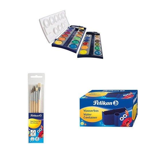 Pelikan Farbkasten-Set - K24 Deckfarbkasten, 5 Haarpinsel, Wasserbox
