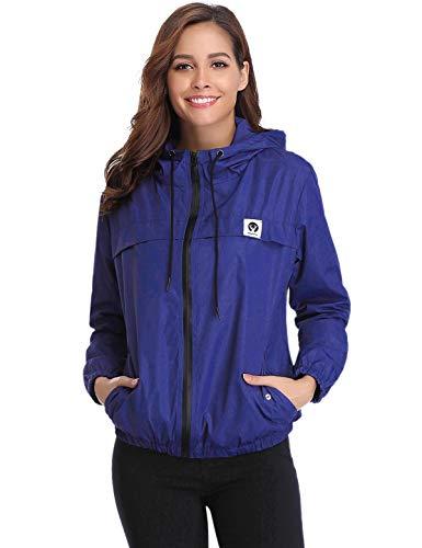 Aibrou Damen Leichte Regenjacke wasserdicht Kurze Windjacke mit Kapuze für den Außenbereich (Blau, X-Small) (Kurze Sport-jacke Für Frauen)
