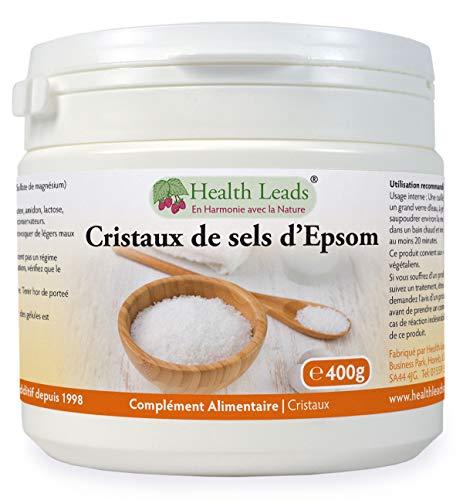 Sels d'Epsom purs et de qualité alimentaire 400g, Sulfate de magnésium, Largement utilisé pour aider à détendre les muscles endoloris et fatigués après le sport et l'exercice, Récipient refermable