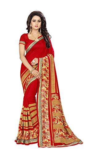 Oomph! Women's Printed Linen Silk Blend Sarees - Crimson Red