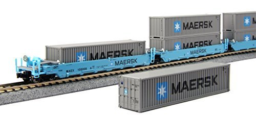 kato-usa-model-train-products-100008-n-gunderson-maxi-i-double-stack-5-unit-well-car-maersk-train-by