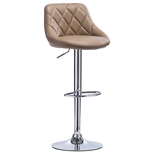 Woltu bh23kk-1 sgabello da bar moderno girevole sedia cucina alta con schienale quadrato poggiapiedi senza braccioli altezza regolabile in similpelle cachi 1 pezzo