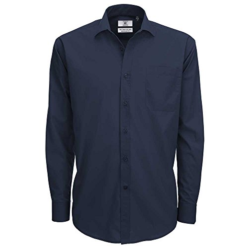 B&C Collection Smart Long Sleeve Shirt Navy