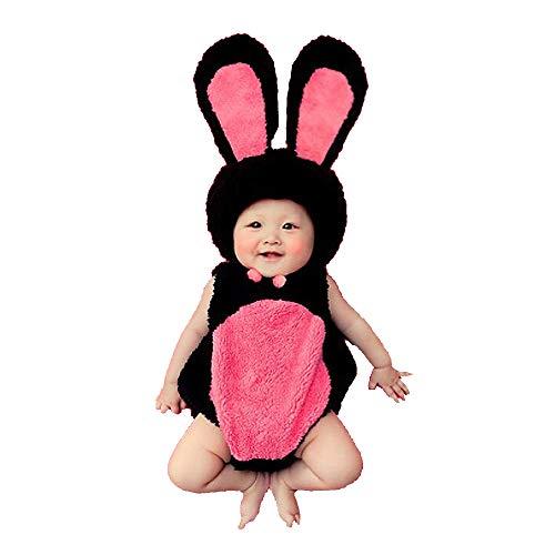 NROCF Foto di Ragazze fotografiche Costume Neonato Foto Neonato, Coniglietto di Peluche Rosa e Nero Costume di Coniglio Accogliente per Neonati