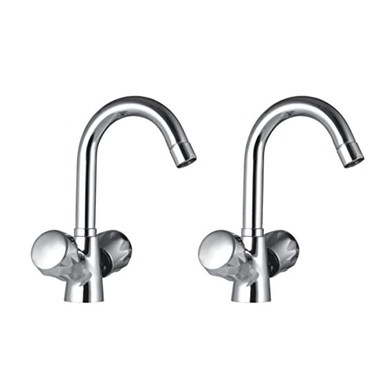 Drizzle Basin Mixer Conty Brass Chrome Plated/Centre Hole Basin Mixer/Pillar Cock Tap/Water Mixer Tap For Wash Basin/Bathroom Tap/Quarter Turn Foam Flow Tap - Set of 2