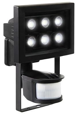 Ranex XQ1010 LED Fluter mit PIR-Sensor [6x á 1 Watt], 360 Lumen, Erfassungsbereich 180° x 12 Meter, kalt weiß von Ranex GmbH auf Lampenhans.de