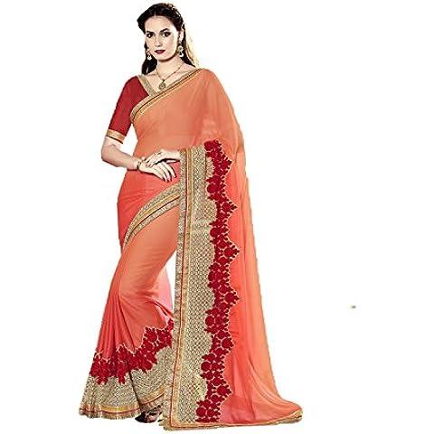 DaFacioun Indian Women Designer Party wear Orange Color Saree Sari R-13016