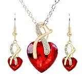 Cristal De Las Mujeres De La Piedra Preciosa Brillante Cadena De La JoyeríA del Collar Pendiente del Perno(Rojo)
