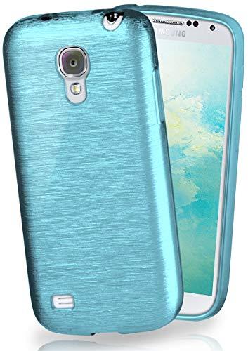 moex® Stylische Brushed Aluminium-Optik und starker Grip | Ultra dünne Silikonhülle passend für Samsung Galaxy S4 in Türkis