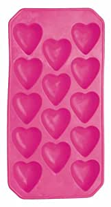 KitchenCraft BarCraft Silicone Ice Cube Tray with Novelty Heart Moulds, Pink, 26 x 12 cm