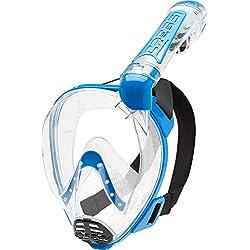 Cressi Duke Full Face Mask Masque Complet/Integral conçu pour Snorkeling avec Tuba Dry Mixte Adulte, Transparent/Bleu, M/L