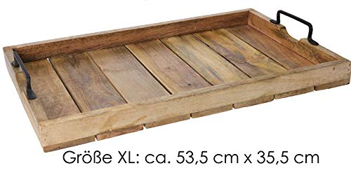 haus Mango Dekotablett Holz-Tablett Serviertablett XL 53,5 cm x 35,5 cm ()