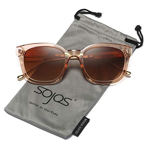 SOJOS Fashion Rechteckig Polarisierte Sonnenbrille Damen Herren in Mode SJ2050 mit Braun Rahmen/Braun Linse