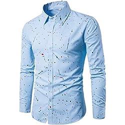 Btruely Herren Camisa Superior de Manga Corta con Estampado de Lunares para Hombre Camisa Casual de Algodón