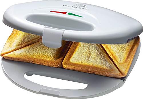 Bomann ST 5016 CB Sandwichtoaster, 3-eckige Sandwichplatten, automatischer Temperaturregler, mit 2 Kontrollleuchten, Antihaftbeschichtung, Überhitzungsschutz, weiß