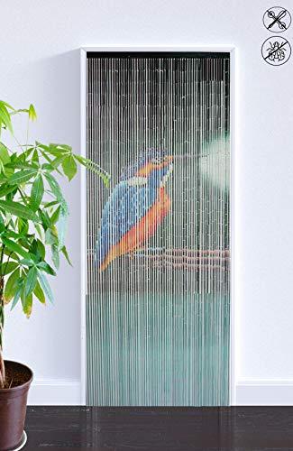 ABC Home Living ♦ ♦ Bambusvorhang Eisvogel ♦ Türvorhang ♦ Bambustürvorhang ♦ 65 Stränge ✔ Insektenschutz ✔ Fliegenschutz ✔ Raumteiler, Bambus, Mehrfarbig, 90 x 200 cm