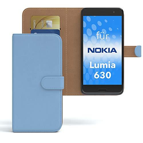 EAZY CASE Hülle für Nokia Lumia 630 Dual SIM Bookstyle mit Standfunktion, Book-Style Case aufklappbar, Schutzhülle, Flipcase, Flipstyle, Flipcover mit 2 Kartenfächern aus Kunstleder, Hellblau