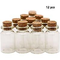 RUBY 12 Botellas de Deseo 22mm x 30mm. Mini Botellas de Cristal con Tapones de Corcho/Mensaje/Deseo de Fiesta de Bodas. (12 unids.)