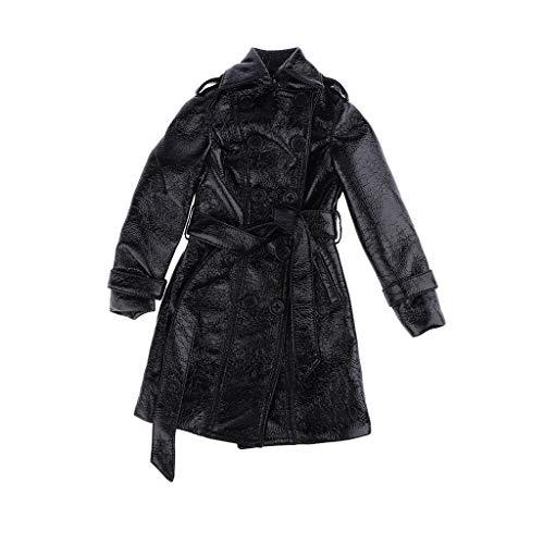 Fenteer Schwarze Puppe Schwarz PU Mantel Lederjacke Kleidung Für 1/3 Bjd Puppe Outfit Zubehör