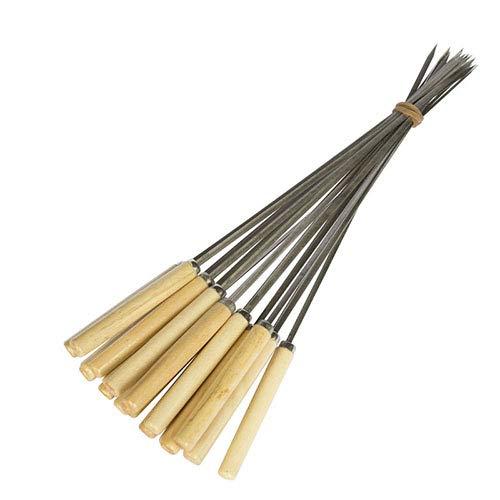 Handstop (Grill-Spieß-Set, Edelstahl-Metall-Grillkebab Großer Edelstahl, Runder Holz-Hitzebeständiger Griff - Geeignet für Grill-Rindfleisch, Gemüse)