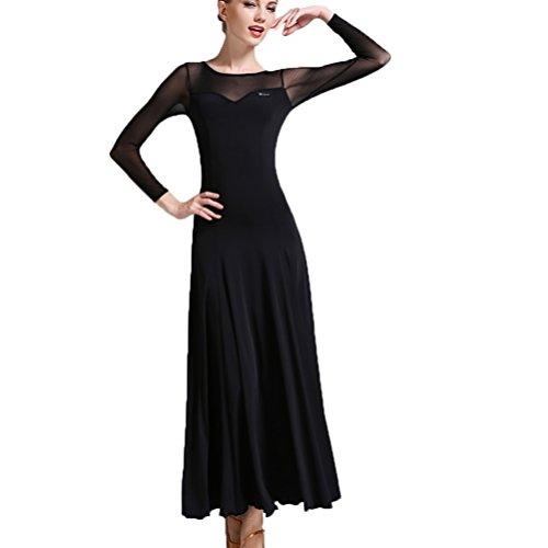 Professionel Ballroom Dance Kleider für Frauen Mesh Ärmel Spleißen Tango Trikot Kostüm Selbst-Anbau Performance Modern Walzer Tanz Outfit, Black, XL