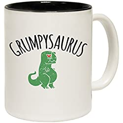 Dinosaurio T-Rex Grumpysaurus lema plaśtico taza de cerámica, negro