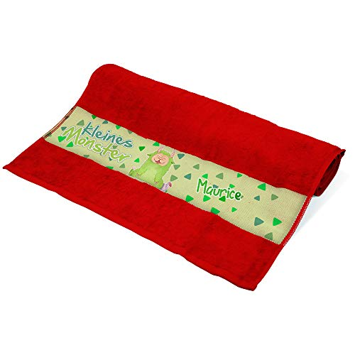 Eurofoto Handtuch mit Namen Maurice und Motiv - Kleines Monster - | Kinder-Handtuch Bedruckt | Farbe: Rot | 50 x 100cm