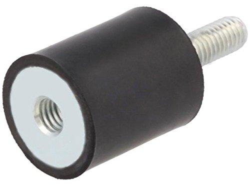 4x DVA2-10-15-M4-70 Vibration damper M4 Ø10mm rubber L15mm Thread